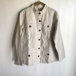 Tudor Count Cream Denim Jacket Sz M Brown Buttons